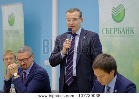 ST. PETERSBURG, RUSSIA - OCTOBER 21, 2015: President of North-West bank of Sberbank Dmitry Kurdyukov during the meeting with students of Higher School of Economics