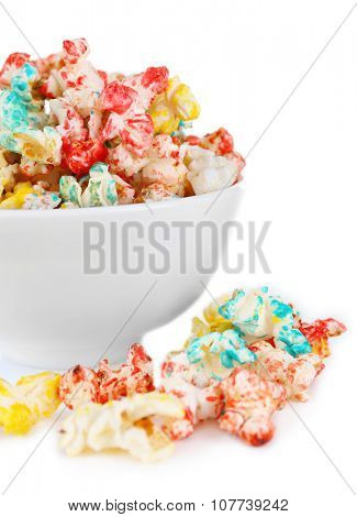 Sweet colourful popcorn isolated on white background