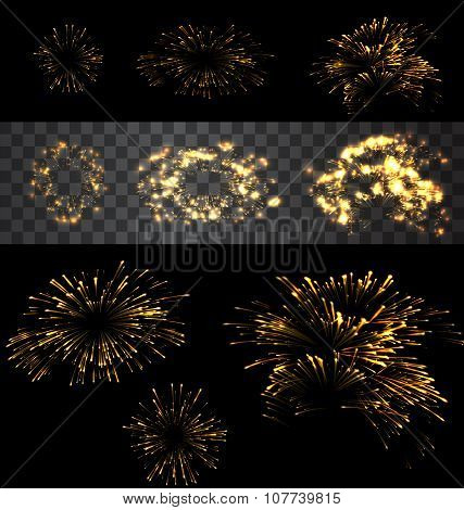 Set of isolated fireworks