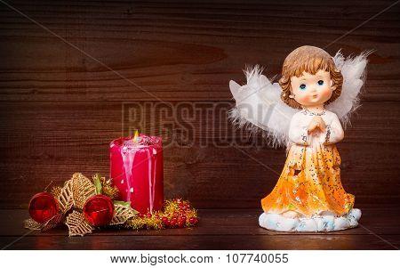 Christmas Angel And Candle