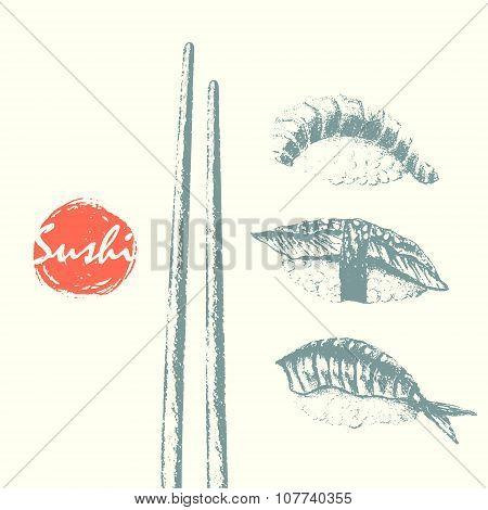 Nigiri Sushi Set And Chopsticks Sketch Background.