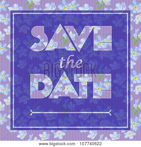 Floral Greeting Card With The Text Save The Date. Seamless Pattern With Flower Bouquet Ornament