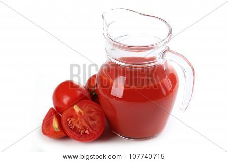 Fresh Red Tomatoes And Tomato Juice In Jug Isolated On White
