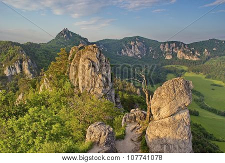 impressive, unusual rocky area in the light of summer evening, Slovakia