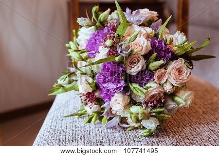 Bridal Bouquet Of White Roses And Carnations
