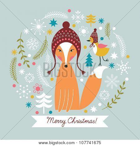 Christmas vector illustration,  Christmas card