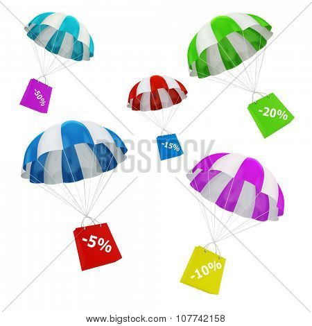 3d parachute and shopping bags