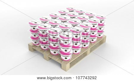 Plastic yogurt cups set on wooden pallet, isolated on white background.