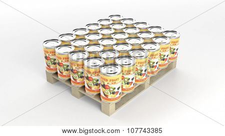 Mixed fruits cans set on wooden pallet, isolated on white background.