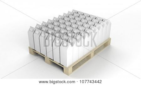 Blank boxes mockups set on wooden pallet, isolated on white background