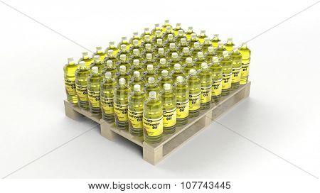 Oil bottles set on wooden pallet, isolated on white background.