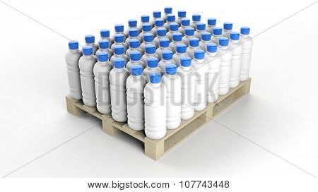Blank water bottles mockups set on wooden pallet, isolated on white background.