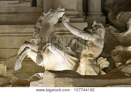 Trevi Fountain Triton And Hippocamp At Night