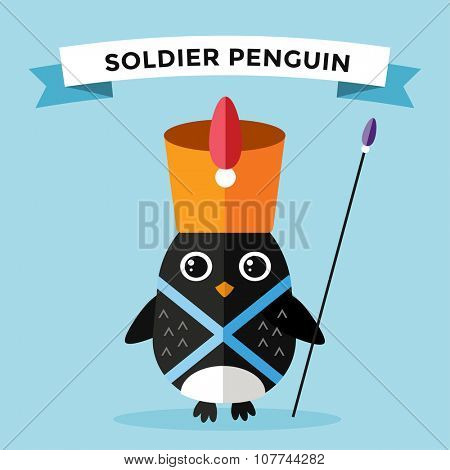 Cartoon penguin character vector illustration. Cartoon funny penguin guard or military soldier. Penguin soldier, guardian, guard penguin. Cartoon penguin vector illustration. Penguin vector character