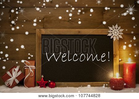 Festive Christmas Card, Blackboard, Snowflakes, Candles, Welcome