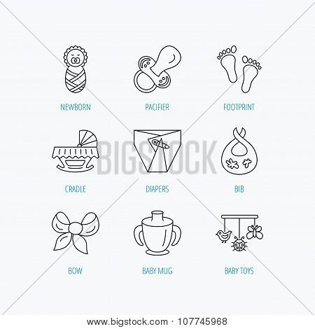 Pacifier, newborn and baby toys icons. Footprint.