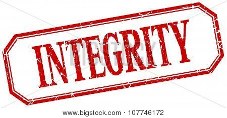 Integrity Square Red Grunge Vintage Isolated Label