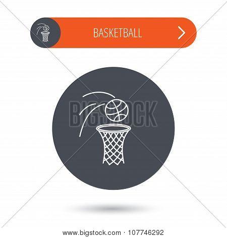 Basketball icon. Basket with ball sign.
