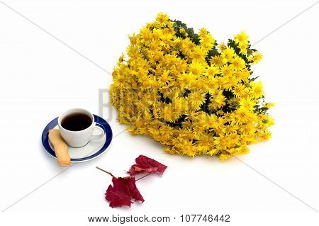 Cup Of Coffee, Beautiful Autumn Leaf And Bouquet Of Flowers