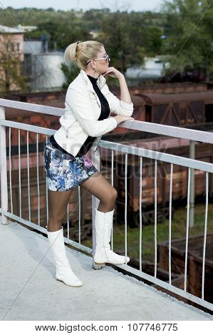 The Beautiful Woman On The Bridge, Against Railway Cars, Railway Roads