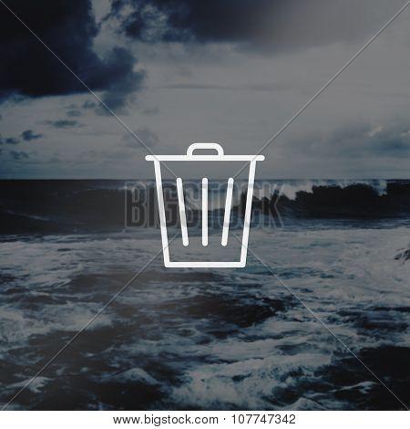 Bin Trashcan Waste Garbage Junk Icon Concept