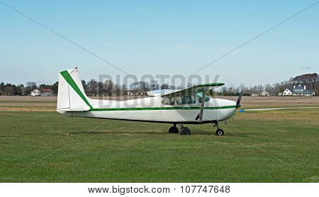 Single Engine Prop Plane Ready to Take Off