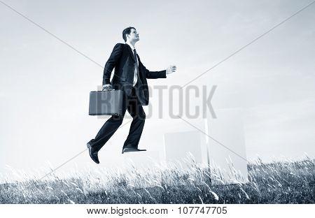 Business Man Climbing Up Steps Outdoors Concept