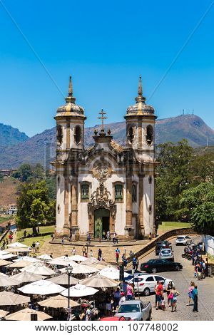 OURO PRETO, BRAZIL - CIRCA OCTOBER 2015: Church of Saint Francis of Assisi in Ouro Preto, Minas Gerais, Brazil