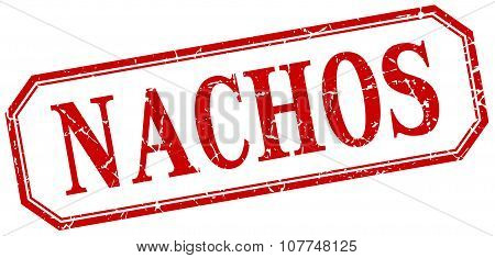 Nachos Square Red Grunge Vintage Isolated Label
