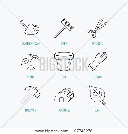 Sprout plant, scissors and pot icons.