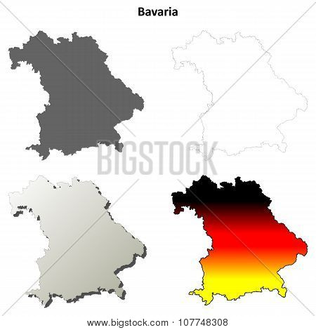 Bavaria outline map set