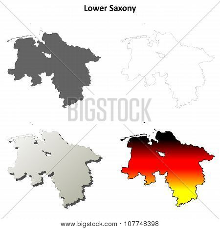 Lower Saxony outline map set