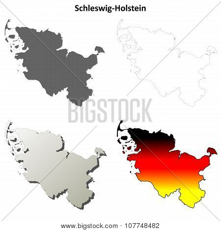 Schleswig-Holstein blank outline map set