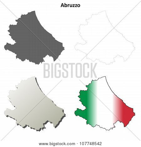 Abruzzo blank detailed outline map set
