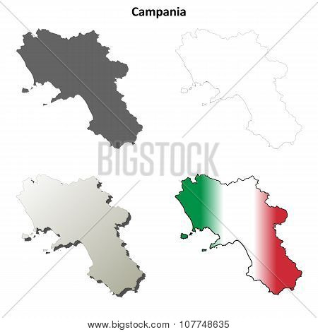 Campania blank detailed outline map set