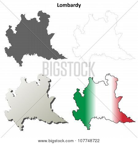 Lombardy blank detailed outline map set