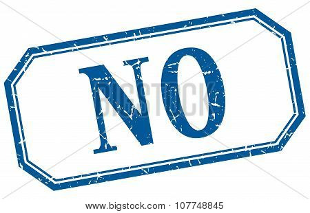 No Square Blue Grunge Vintage Isolated Label