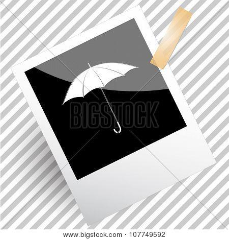 umbrella. Photoframe. Raster icon.