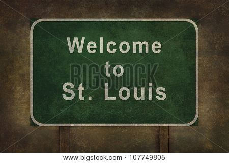 Welcome To St. Louis Roadside Sign Illustration