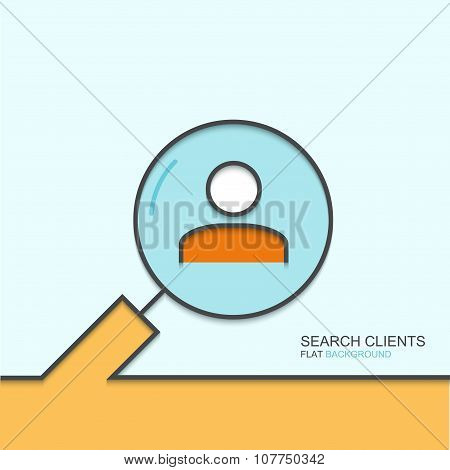 Vector modern outline flat design of search clients