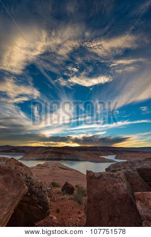 Beautiful Sunset Sky Lake Powell