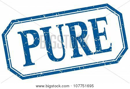 Pure Square Blue Grunge Vintage Isolated Label
