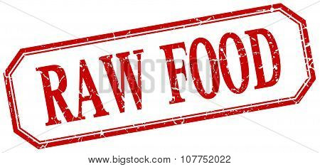 Raw Food Square Red Grunge Vintage Isolated Label