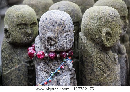 buddha stone war the beads necklace, Japanese sculptures,in Japan