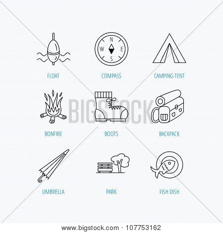 Park, fishing float and hiking boots icons.