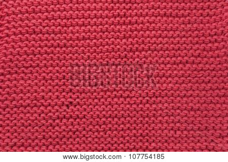 Wool Red Knitted Fabric Texture Background