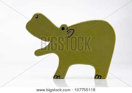 Wooden Hippo On White