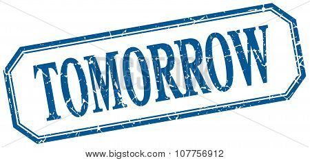 Tomorrow Square Blue Grunge Vintage Isolated Label
