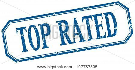 Top Rated Square Blue Grunge Vintage Isolated Label