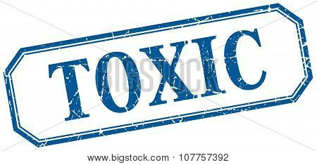Toxic Square Blue Grunge Vintage Isolated Label